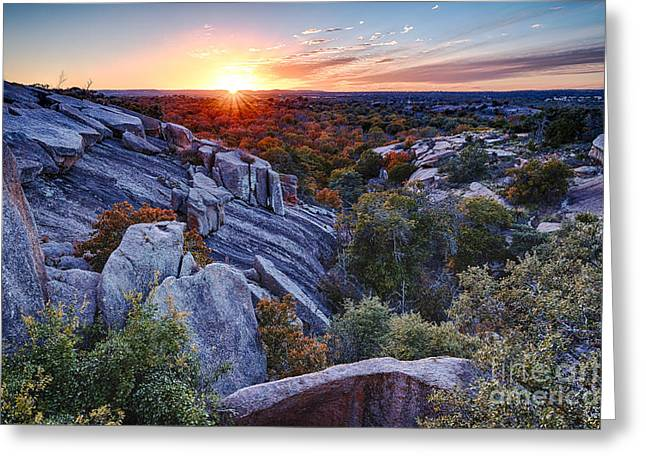 Enchanting Wall Art Greeting Cards - Sunset from the top of Little Rock at Enchanted Rock State Park - Fredericksburg Texas Hill Country Greeting Card by Silvio Ligutti