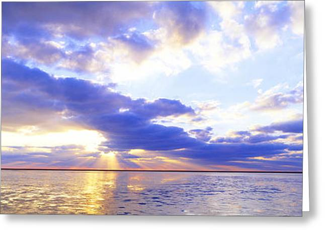 Sun Beams Sun Rays Greeting Cards - Sunset, Germany Greeting Card by Panoramic Images