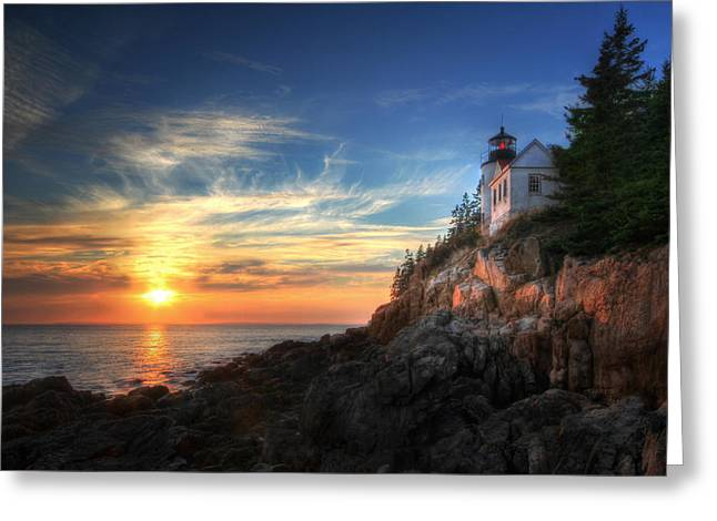 Bass Head Lighthouse Greeting Cards - Sunset Glow at Bass Harbor Greeting Card by Lori Deiter