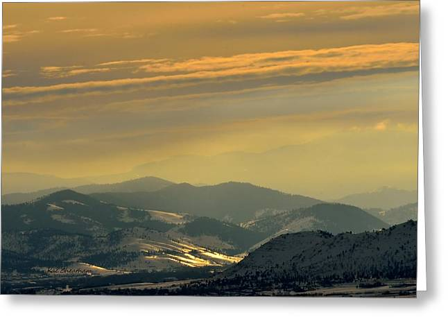 Snowy Evening Greeting Cards - Sunset Glow Greeting Card by Kae Cheatham
