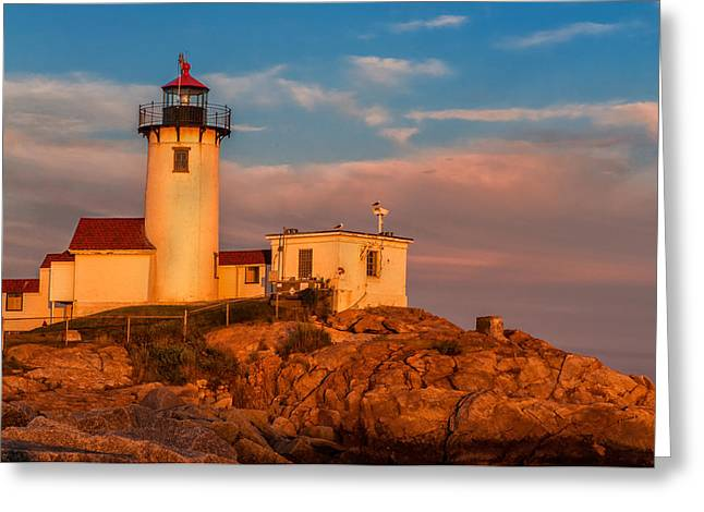 Sunset Glow On The Eastern Point Lighthouse Greeting Card by Thomas Schoeller