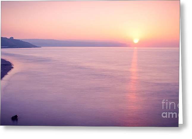 Whitby Greeting Cards - Summer Sunset Whitby Greeting Card by Janet Burdon