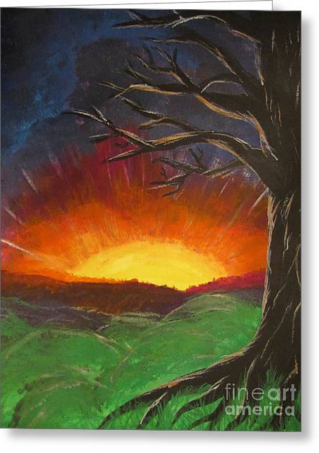 Sun Rays Paintings Greeting Cards - Sunset Glowing Beyond the Bare Tree Landscape Painting Greeting Card by Adri Turner
