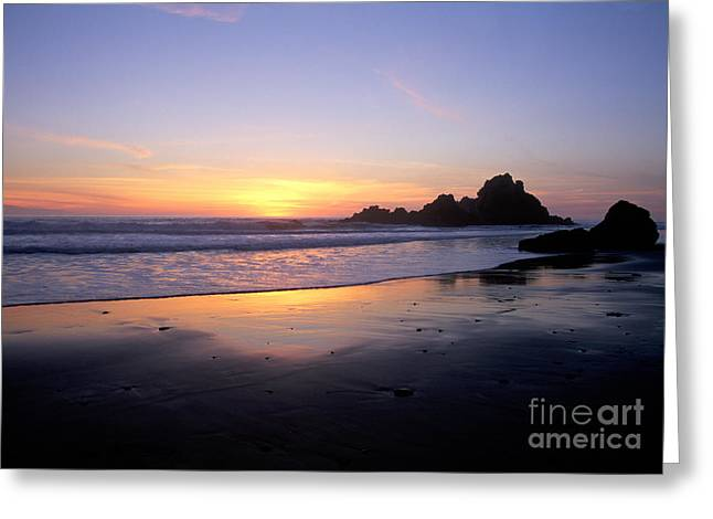 Pfeiffer Beach Greeting Cards - Sunset Gold Big Sur Greeting Card by Charlene Mitchell