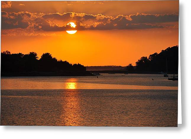 South Boston Prints Greeting Cards - Sunset Gold Greeting Card by Joanne Brown