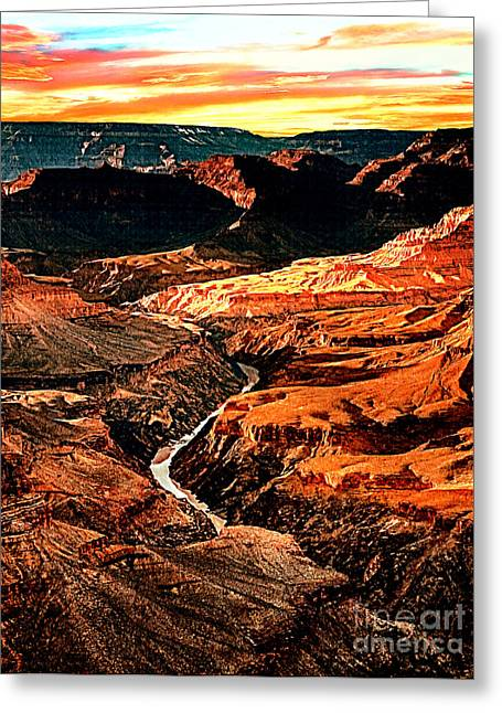 Yaki Greeting Cards - Sunset Grand Canyon West Rim Greeting Card by  Dr Bob and Nadine Johnston
