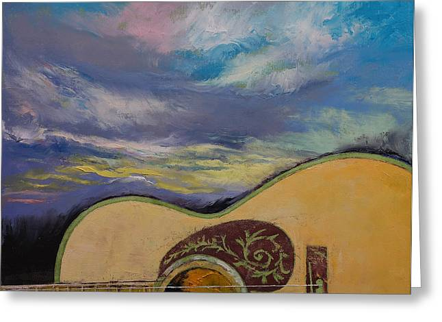 Hippy Greeting Cards - Sunset Guitar Greeting Card by Michael Creese