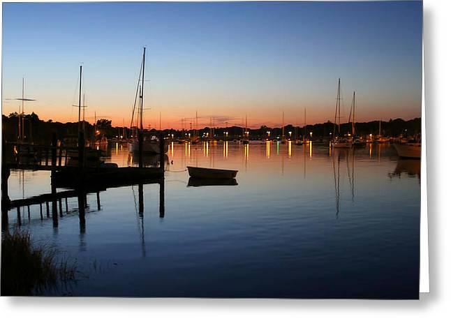 Barrington Greeting Cards - Sunset Harbor in Barrington Greeting Card by Heidi Piccerelli