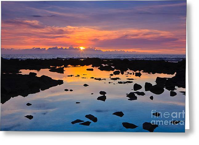 Pacific Ocean Prints Greeting Cards - Sunset - Hawaii Greeting Card by Henk Meijer Photography