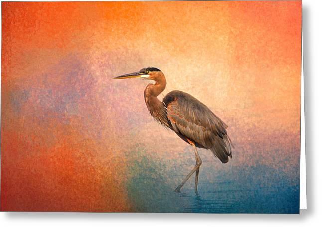 Sea Birds Greeting Cards - Sunset Heron Greeting Card by Jai Johnson