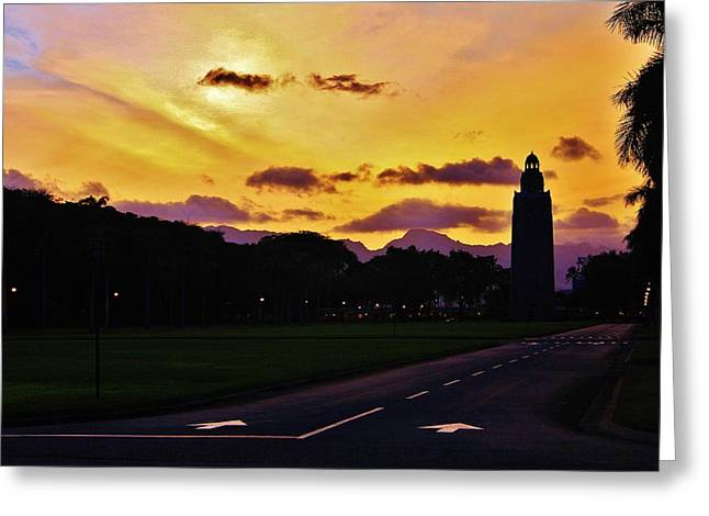 Hickam Greeting Cards - Sunset Hickam Air Force Base Freedom Tower Greeting Card by Craig Wood