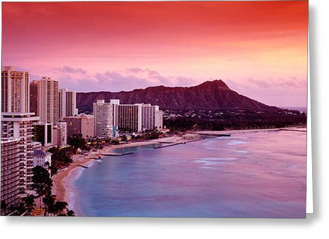 His Light Greeting Cards - Sunset Honolulu Oahu Hi Usa Greeting Card by Panoramic Images