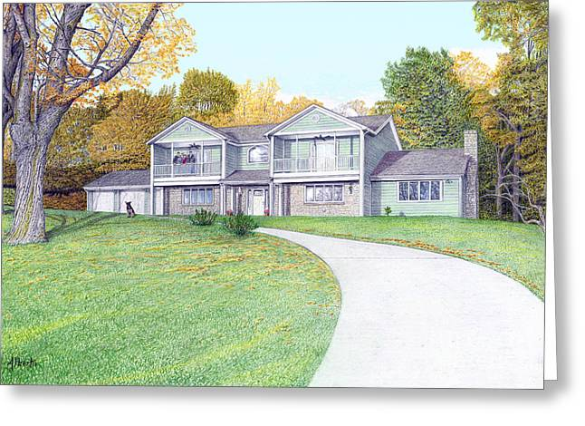 Lake House Drawings Greeting Cards - Sunset House in Fall Greeting Card by Albert Puskaric