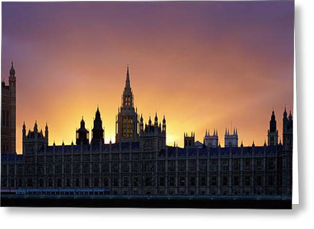 Famous Silhouettes Greeting Cards - Sunset Houses Of Parliament & Big Ben Greeting Card by Panoramic Images