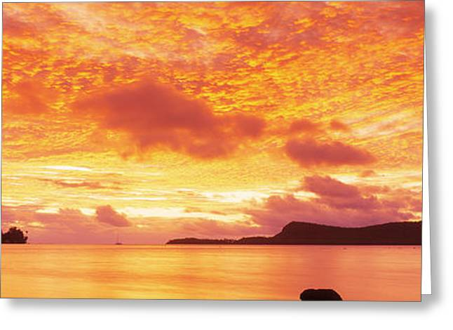 Beach Greeting Cards - Sunset, Huahine Island, Tahiti Greeting Card by Panoramic Images