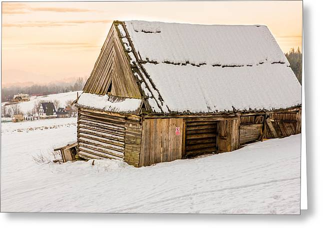 Snowy Evening Greeting Cards - Sunset Hut Greeting Card by Pati Photography