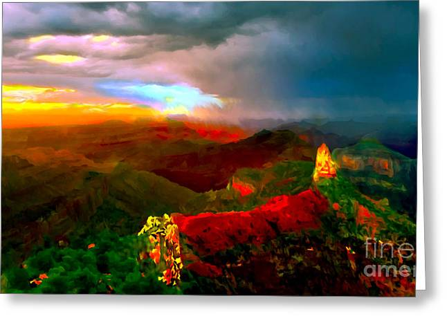 Amazing Sunset Greeting Cards - Sunset Imperial Peak North Grand Canyon Panorama Greeting Card by  Bob and Nadine Johnston