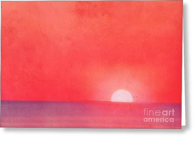 North Sea Greeting Cards - Sunset Impression Greeting Card by Angela Doelling AD DESIGN Photo and PhotoArt