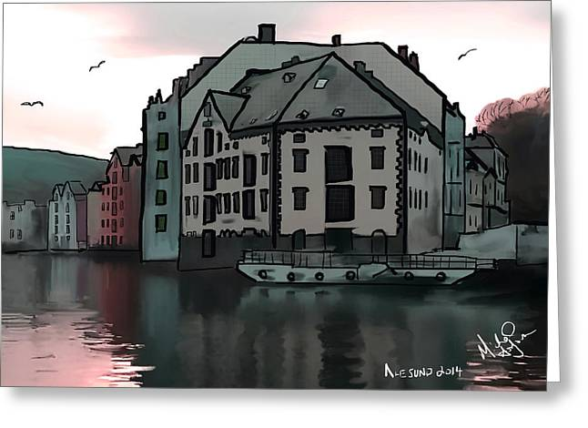 Sunset In Norway Greeting Cards - Sunset in Alesund Greeting Card by Michael Hodgson