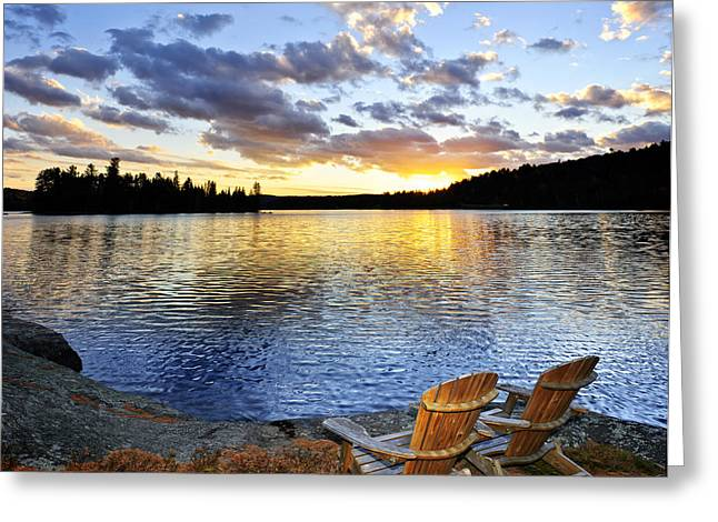 Water Fall Greeting Cards - Sunset in Algonquin Park Greeting Card by Elena Elisseeva