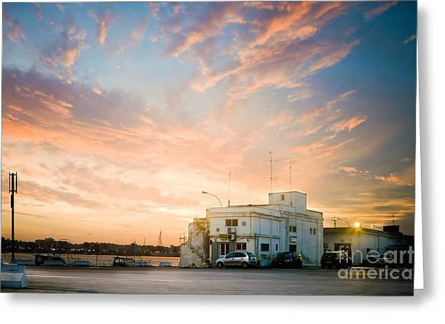 Italian Sunset Greeting Cards - Sunset in Bari Greeting Card by Gabriela Insuratelu