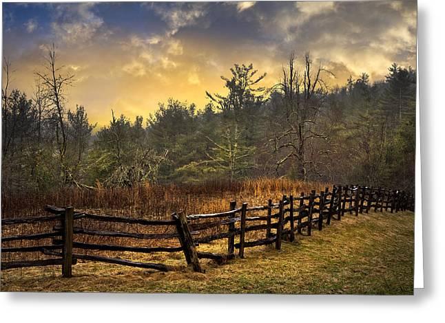 Sunset In Blue Ridge Greeting Card by Debra and Dave Vanderlaan
