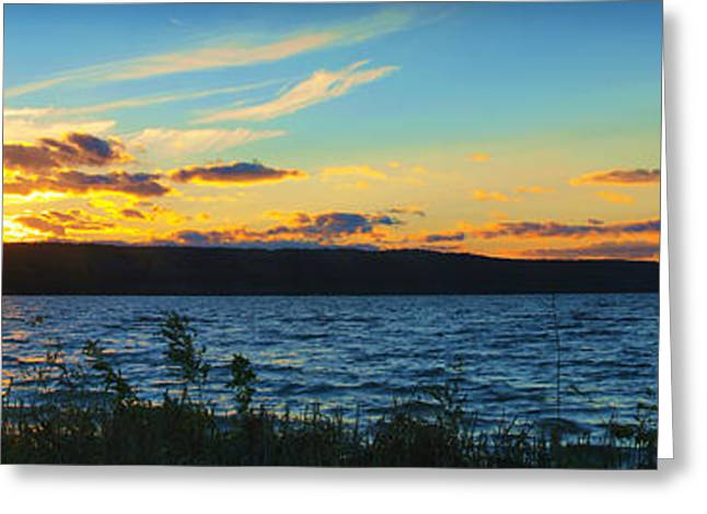 Pond In Park Greeting Cards - Sunset In Cayuga Lake Ithaca New York Panoramic Photography Greeting Card by Paul Ge