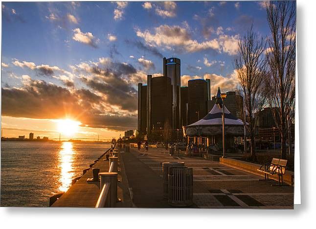 Sunset In Detroit  Greeting Card by John McGraw