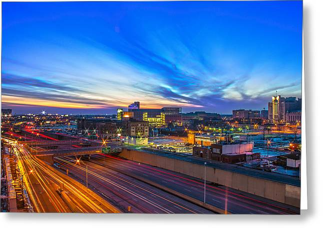 Sunset In Detroit Greeting Card by Nicholas  Grunas