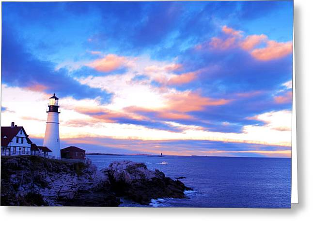 Fall Scenes Drawings Greeting Cards - Sunset in Fork Williams Lighthouse Park Portland Maine State Greeting Card by Paul Ge