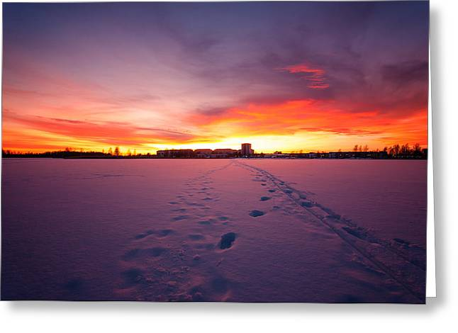 Vinter Greeting Cards - Sunset in Karlstad Sweden. Greeting Card by Micael  Carlsson