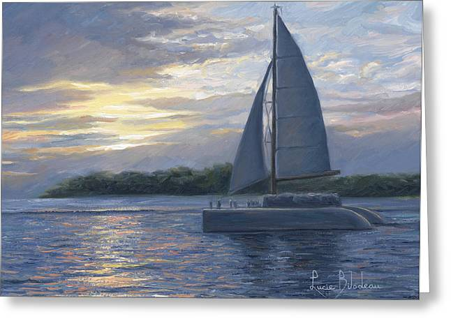 Sailboat Greeting Cards - Sunset In Key West Greeting Card by Lucie Bilodeau