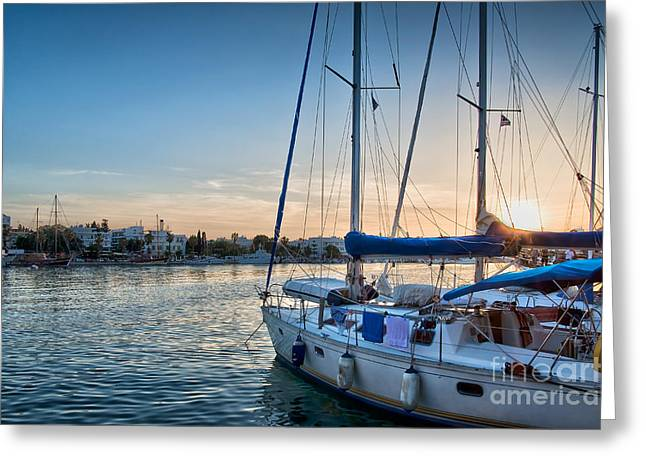 Boat Cruise Greeting Cards - Sunset in Kos Greeting Card by Delphimages Photo Creations