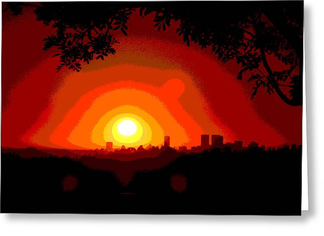 Icons Pyrography Greeting Cards - Sunset in Los Angeles Greeting Card by Vagik Iskandar
