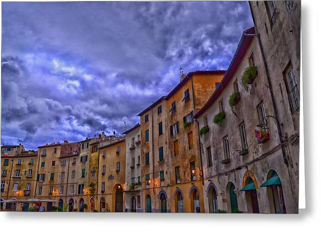 Italian Sunset Greeting Cards - Sunset in Lucca Italy Greeting Card by Maersk