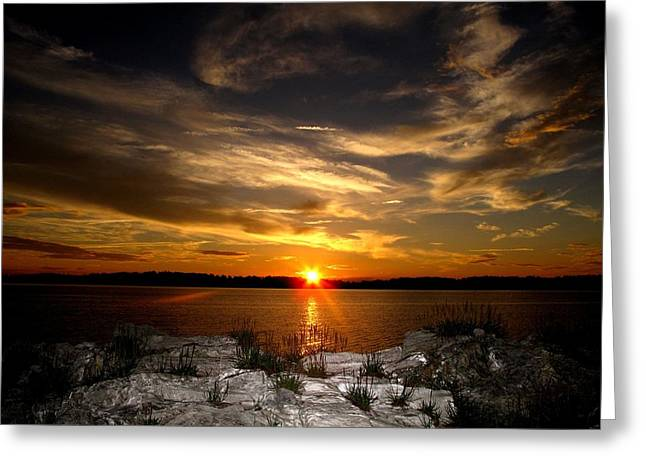 Sunset In Maine Greeting Card by Donnie Freeman