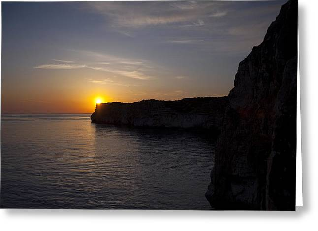 Mediterranean Landscape Reliefs Greeting Cards - Sunset in Menorca Greeting Card by Laia Prats