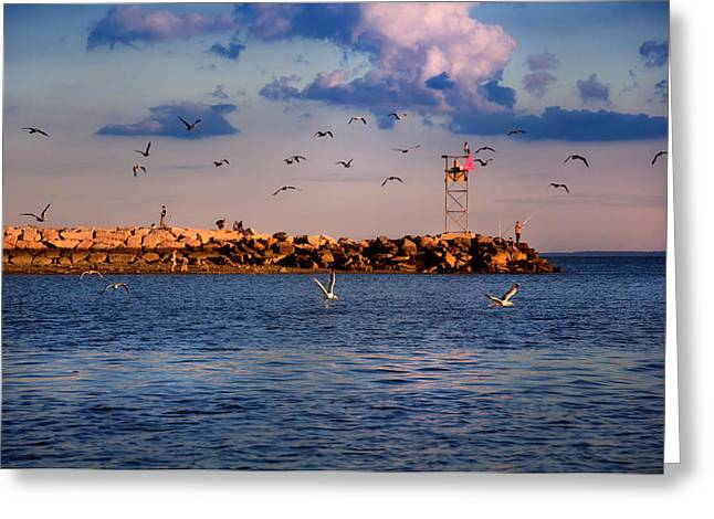 Ocean Scenes Greeting Cards - Sunset in Milford Harbor Greeting Card by Joann Vitali