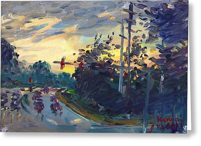Sunset In Military Highway Norfolk Va Greeting Card by Ylli Haruni