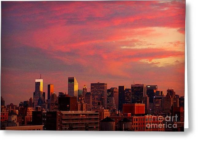 Sunset In New York As Seen From The West Side Greeting Card by Miriam Danar
