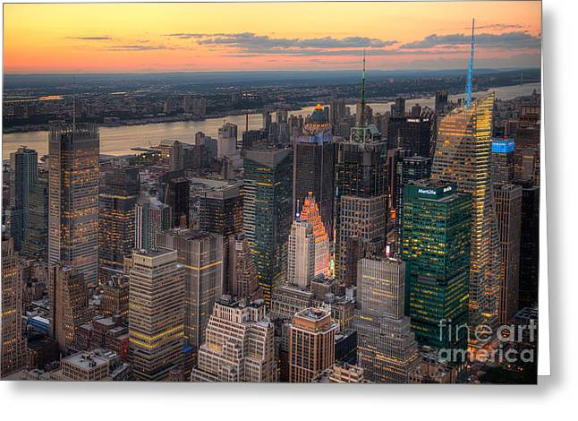 Sunset Greeting Cards Greeting Cards - Sunset in New York City Greeting Card by Anne Warfield