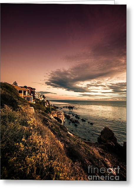 Ocean Art Photography Greeting Cards - Sunset in Newport Beach Greeting Card by Sviatlana Kandybovich