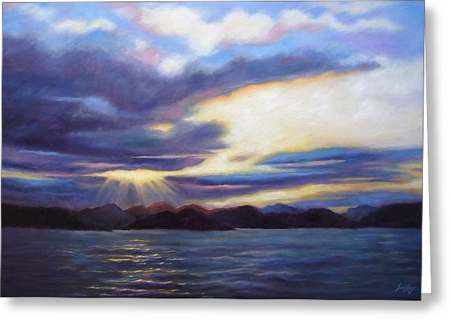 Reflections Of Sun In Water Greeting Cards - Sunset in Norway Greeting Card by Janet King