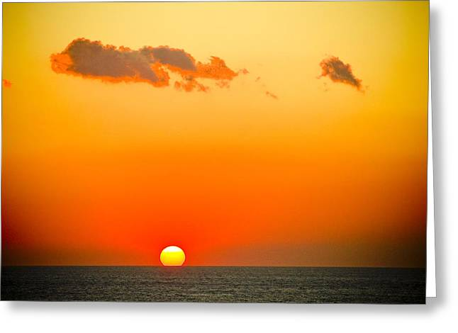 Sunset Prints Greeting Cards - Sunset In Orange Color Greeting Card by Raimond Klavins
