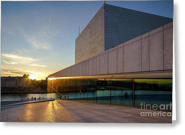 Oslo Greeting Cards - Sunset in Oslo Greeting Card by Andrea Meneghini