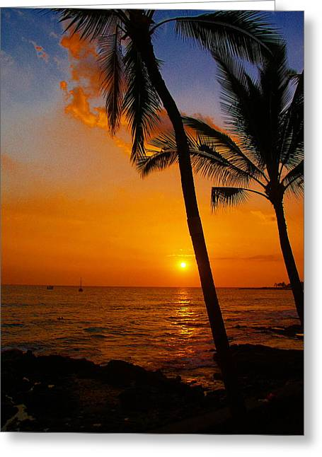 Tropical Sunset Greeting Cards - Sunset In Paradise Greeting Card by Athala Carole Bruckner