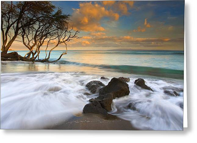 Sunset In Paradise Greeting Card by Mike  Dawson