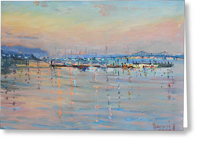 Boats In Harbor Greeting Cards - Sunset in Piermont Harbor NY Greeting Card by Ylli Haruni