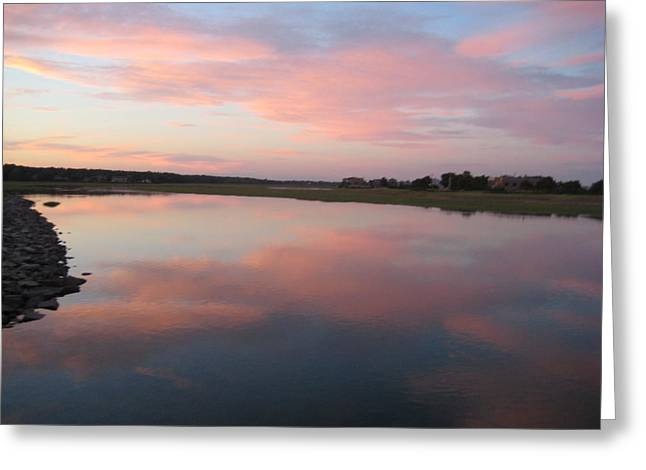 Sunset In Pink And Blue Greeting Card by Melissa McCrann
