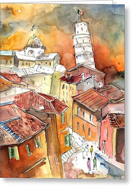 Italian Sunset Drawings Greeting Cards - Sunset in Pisa Greeting Card by Miki De Goodaboom